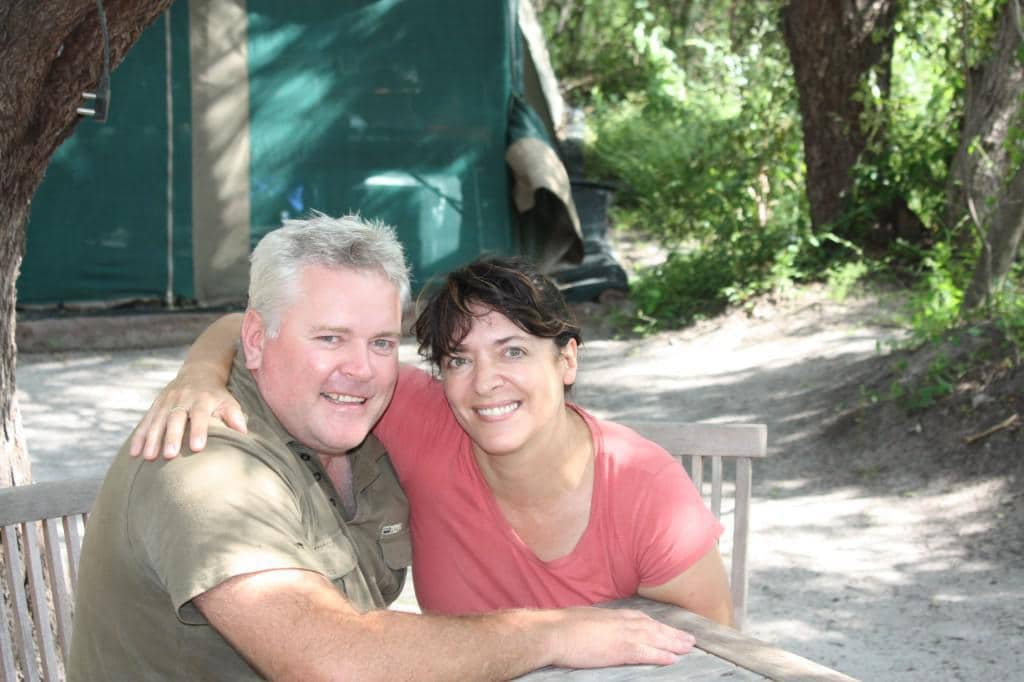 Lise Hanssen of the Kwando Carnivore Project with her husband, Paul Fuuston who is with Panthera