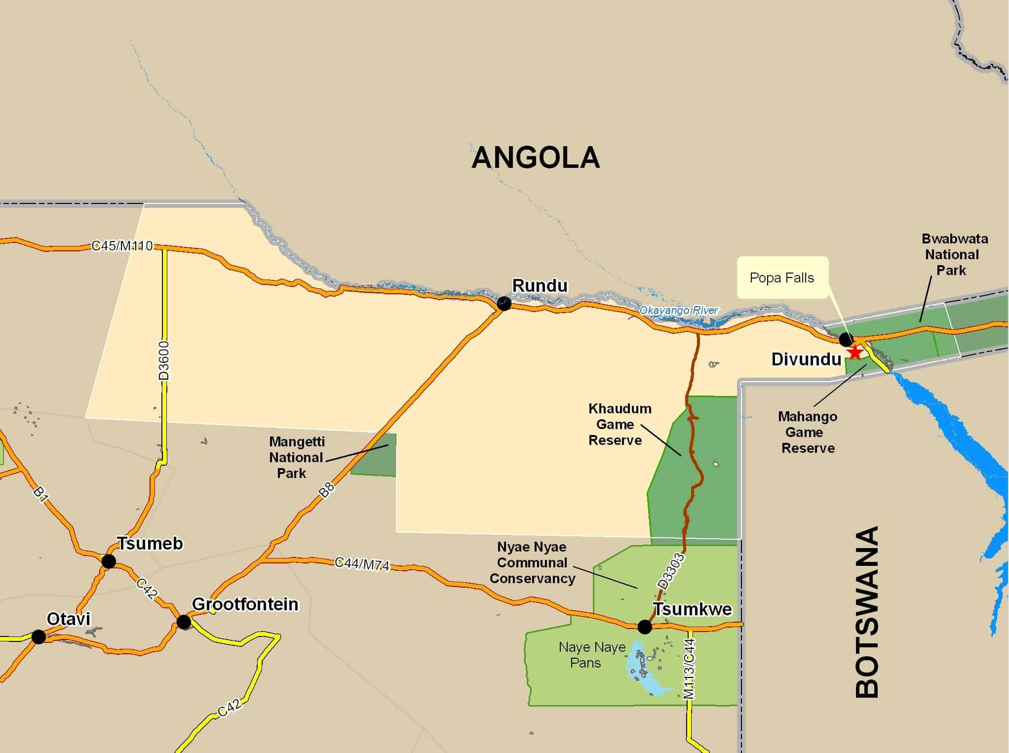 Map of the Kavango region.