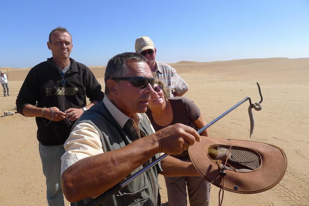 Tommy of Tommy's Living Desert Tours found a snake to show to the curious desert explorers.