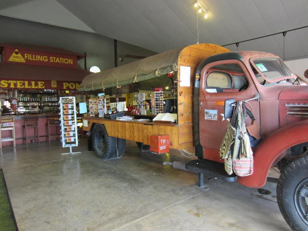 An old truck is the display area of the Curio Shop.