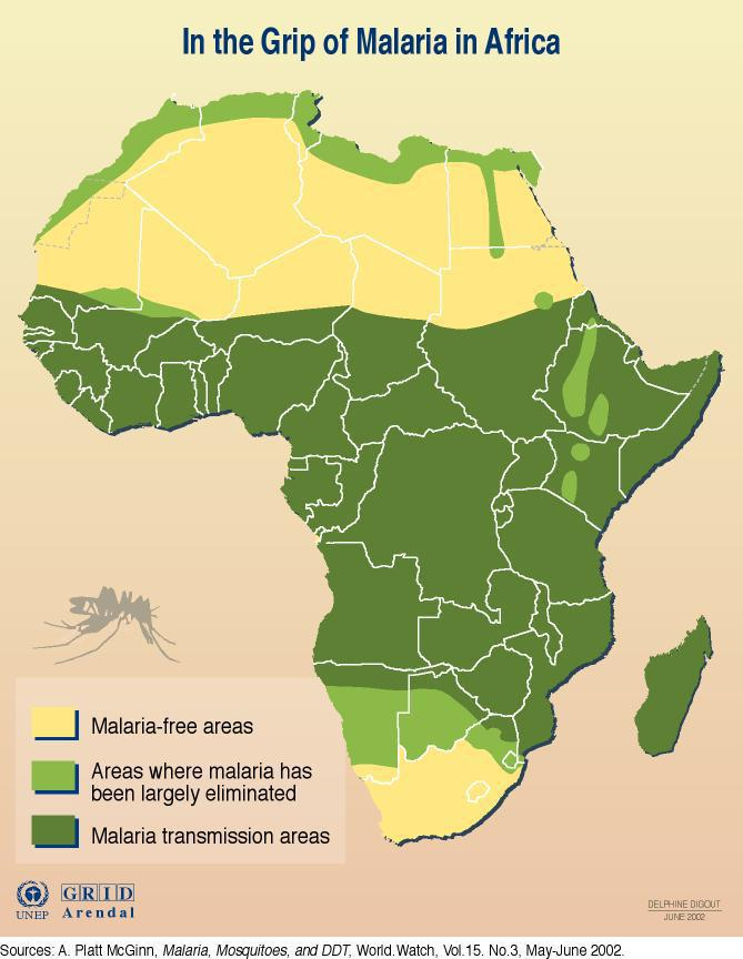 Malaria risk areas in Africa.