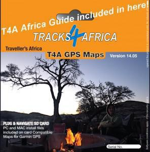 The Africa Guide is loaded onto T4A GPS Maps SD Card.