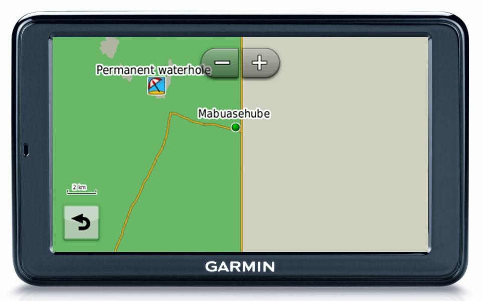 The Nuvi GPS display at 2km zoom level.
