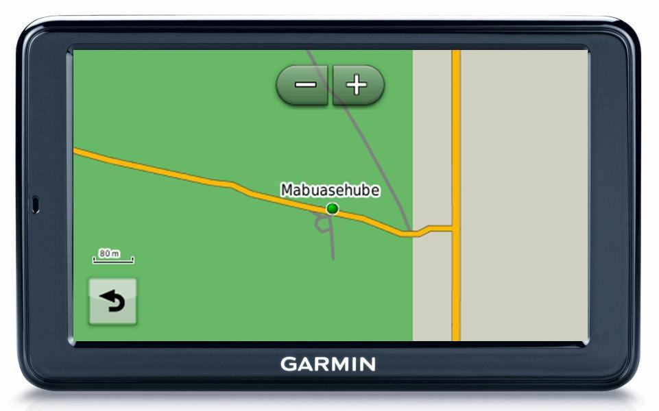 The Nuvi GPS display at 80m zoom level.