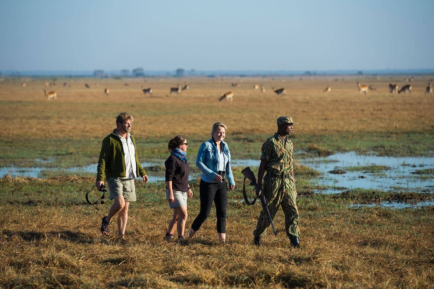 Enjoy a guided walk on the Busanga Plains. (Photo: Mukambi Safari Lodge)
