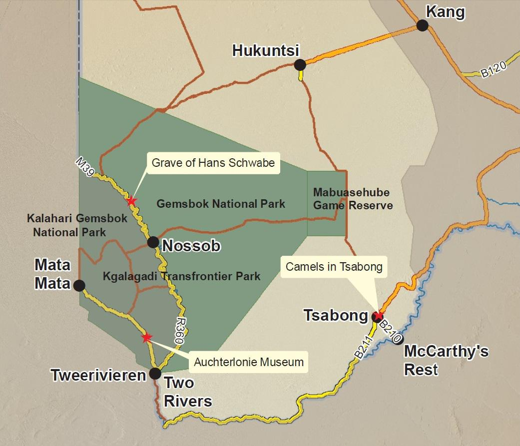 The Kgalagadi Transfrontier Park straddles the border between Botswana and South Africa.