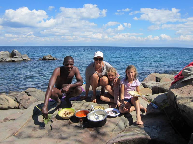 A feast of fish, rice and vegetables prepared on Thumbi Island by our guide.