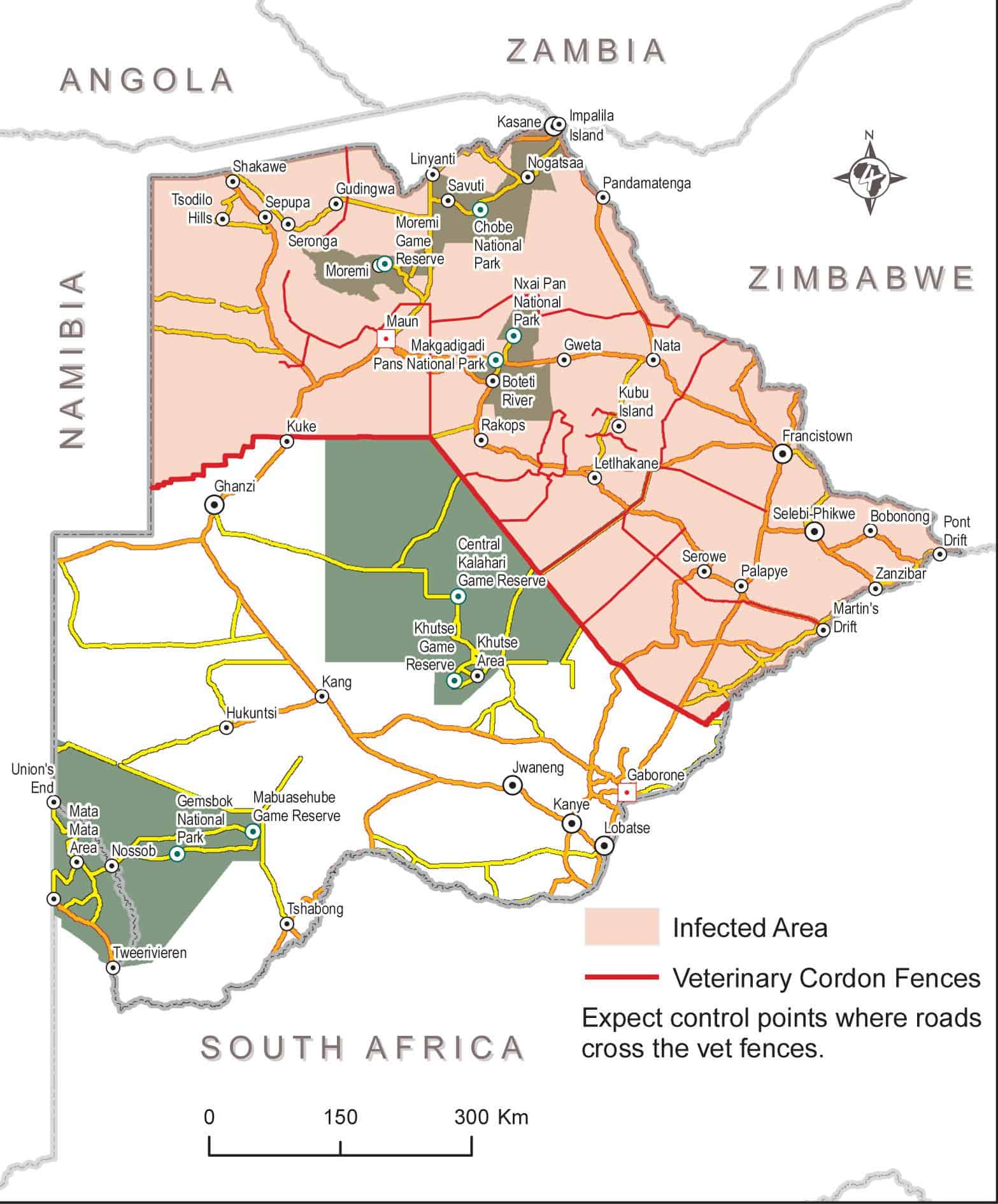 The northern part of Botswana is infected.