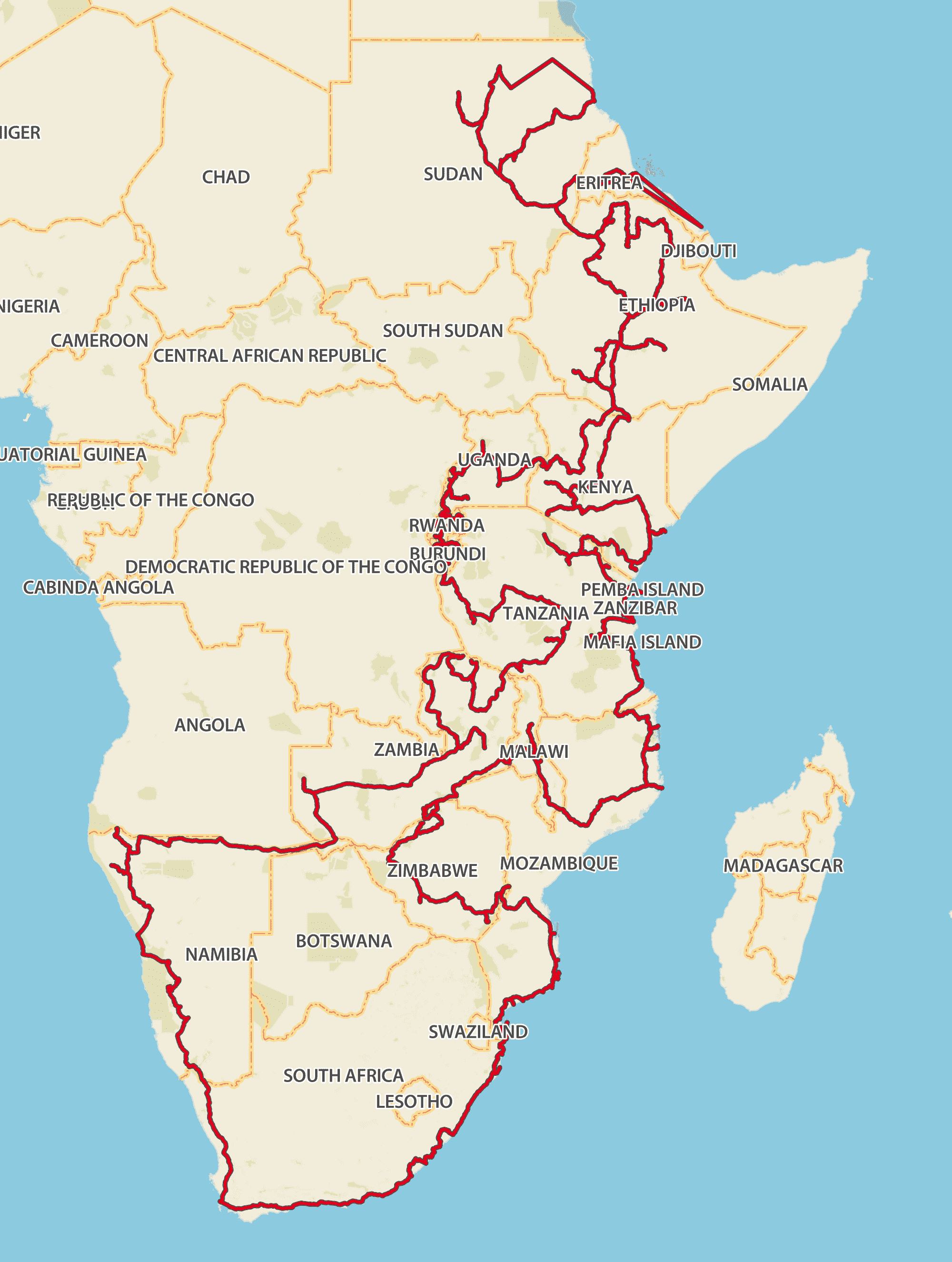 Our planned route to Eritrea and back are flexible.