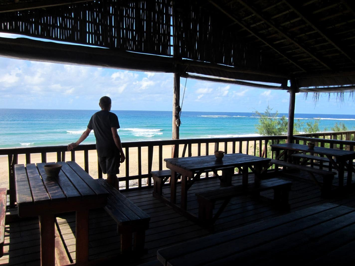 Looking out over the reef at Zavora Lodge.