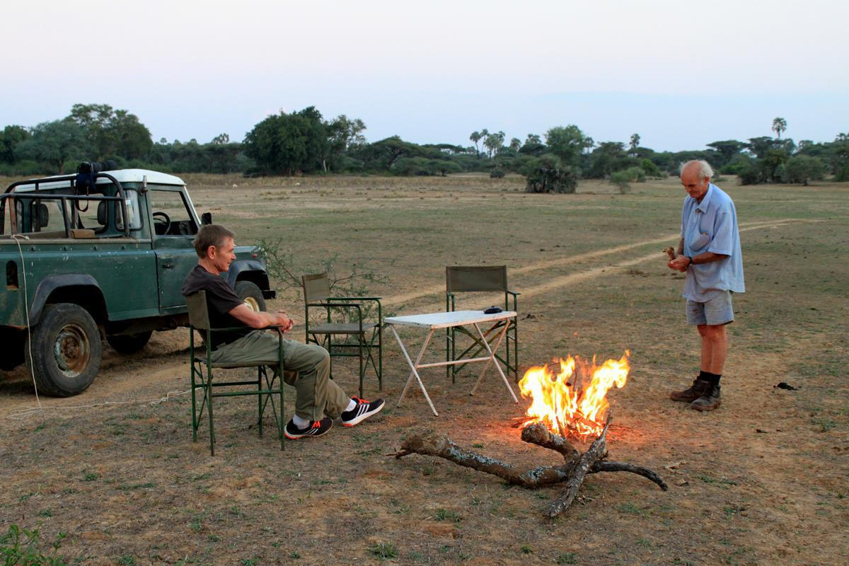Having tea on a pan in the Save Conservancy.