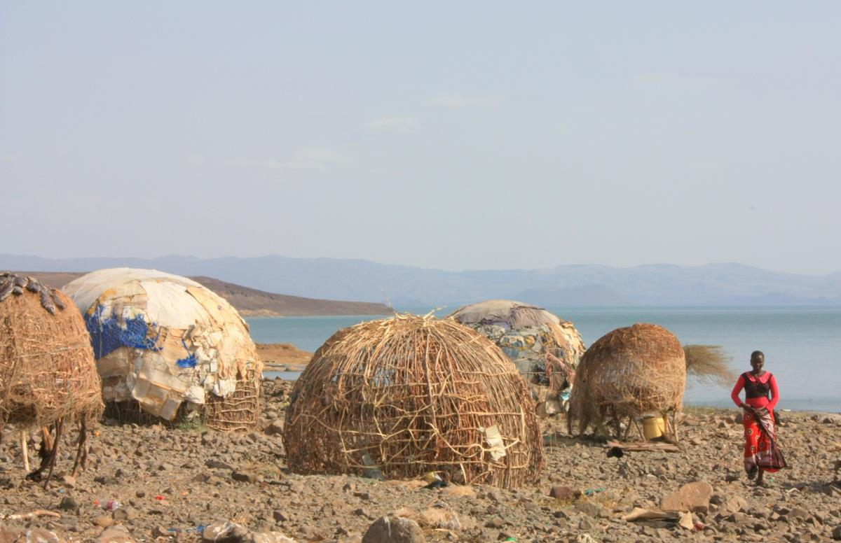 The Turkana people live in domed shelters.