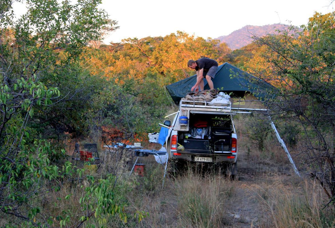 The rooftop tent takes about five minutes to erect.