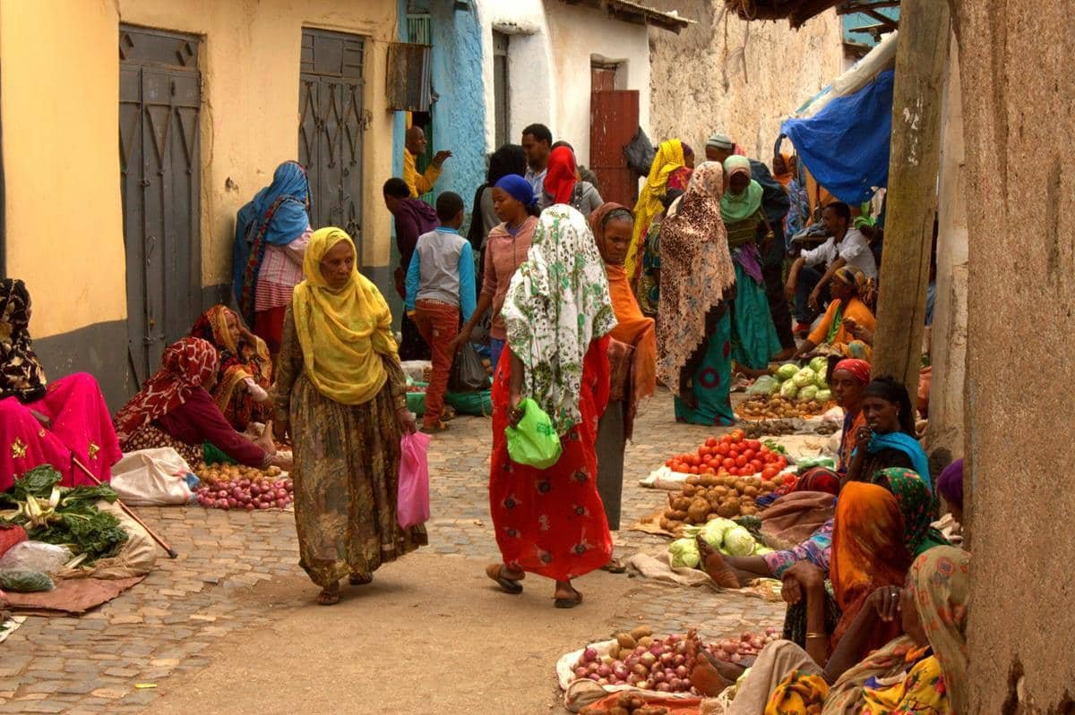 A colourful street in Harar.