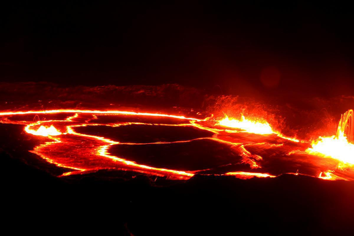 A sea of hot lava and fireworks.