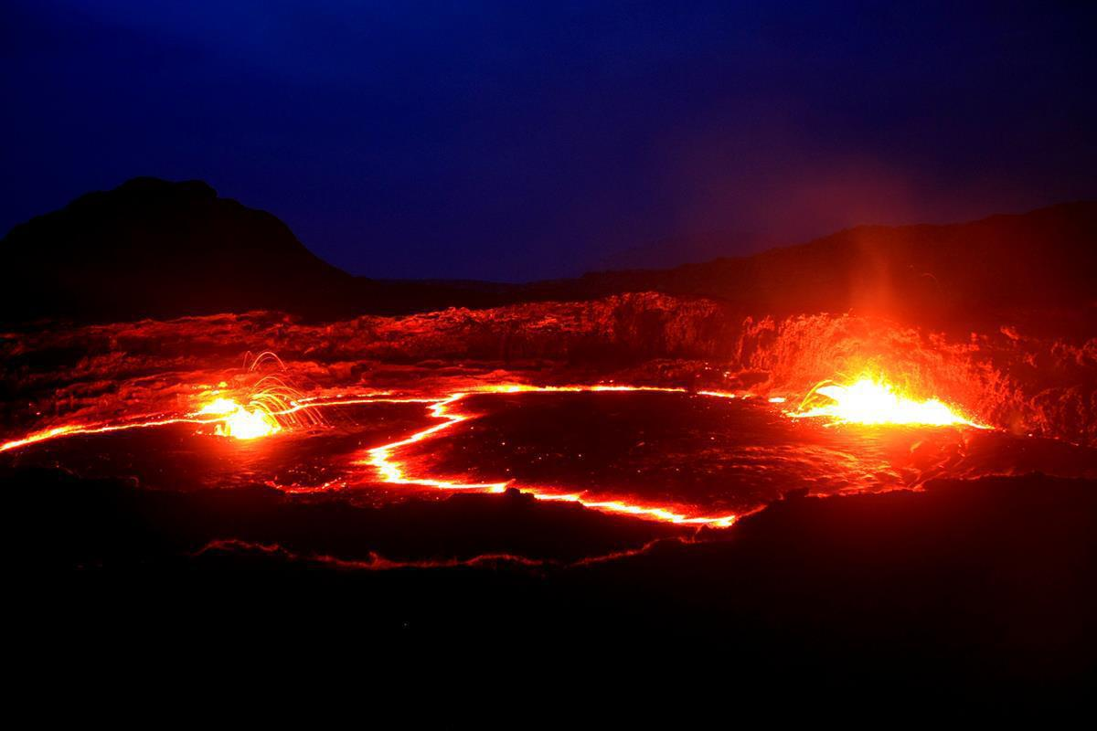The lava lake is contained in a smaller crater within the big crater.