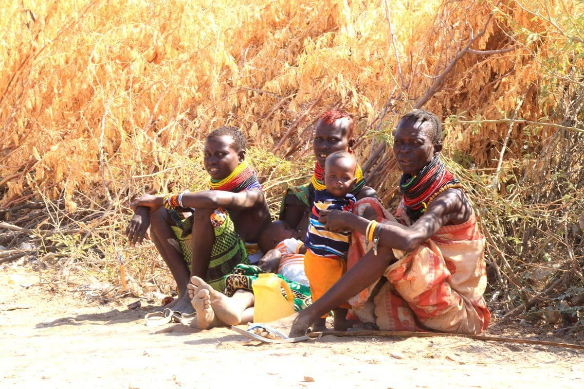 People in one of the traditional Turkana villages.