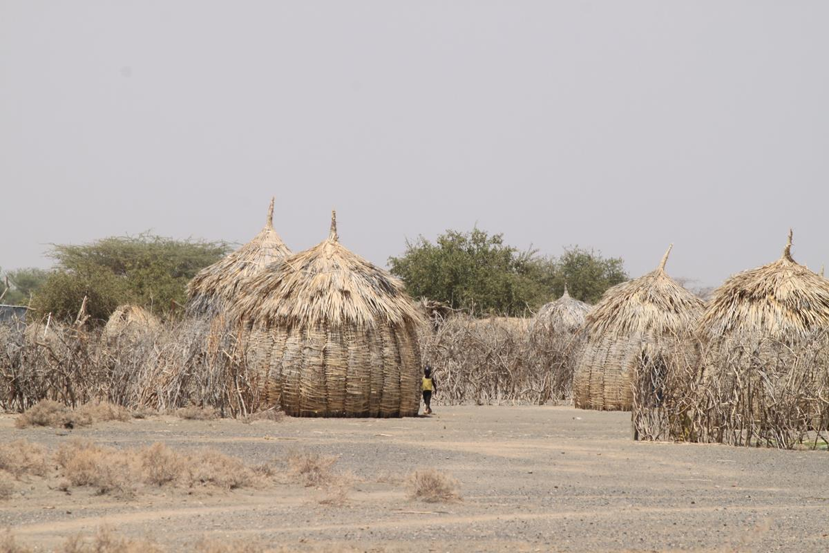 Some of the huts are built from palm leaves.