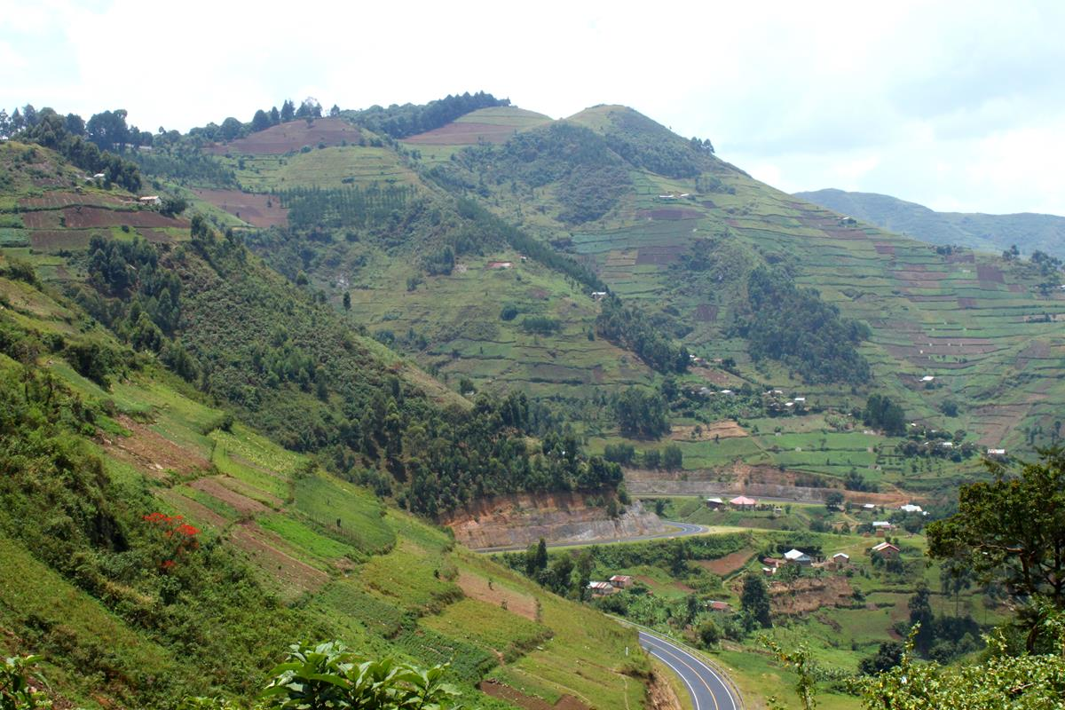 Descending down a beautiful pass on the way to the Cyuve border crossing between Uganda and Rwanda.