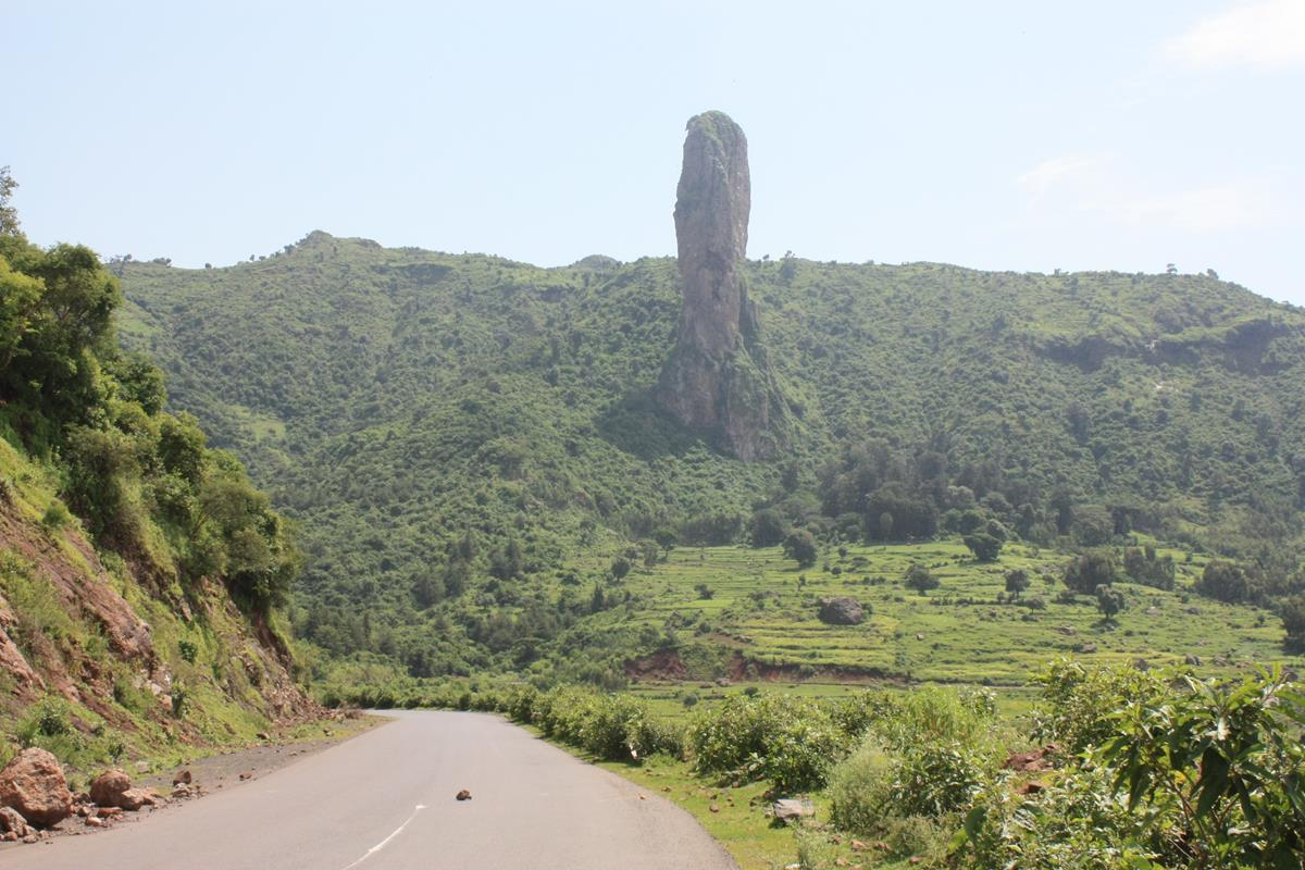 An interesting rock formation as we headed for Bahir Dar.