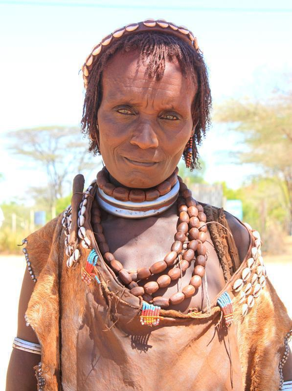 An old woman from the Hamer tribe.