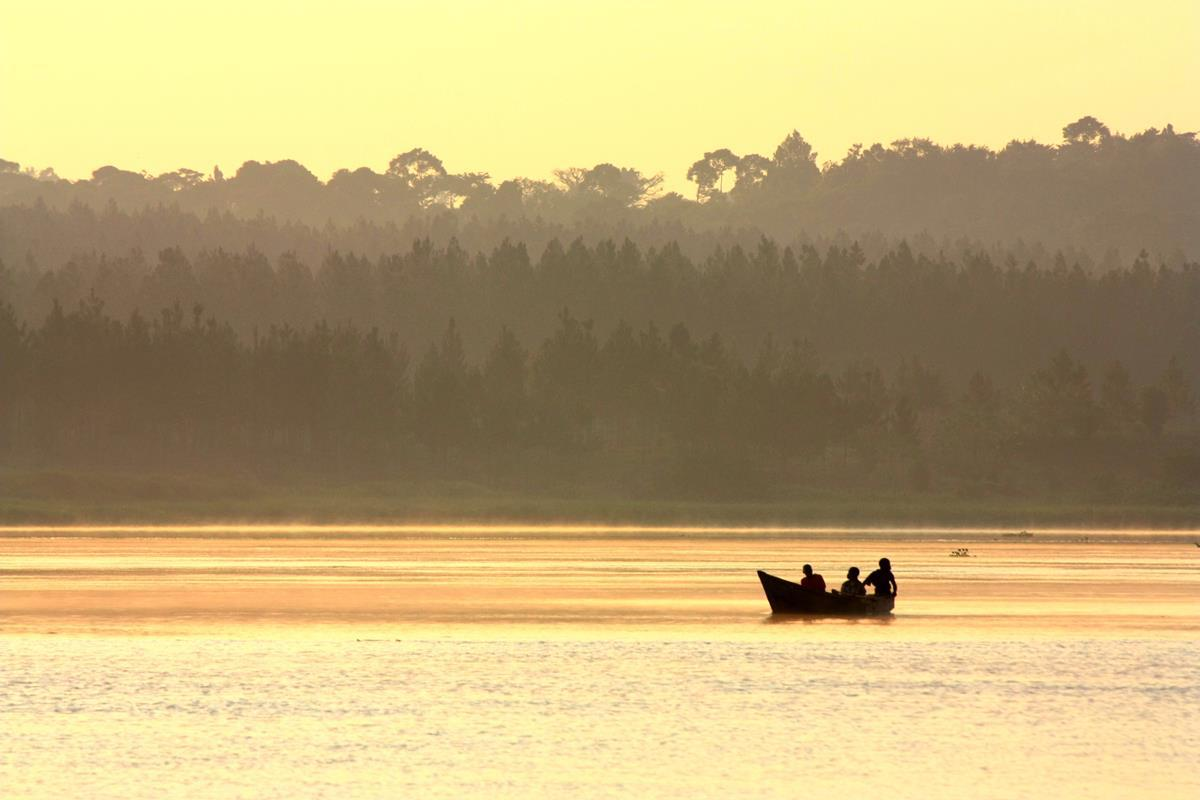 Fishermen going out early morning on their mokoros.