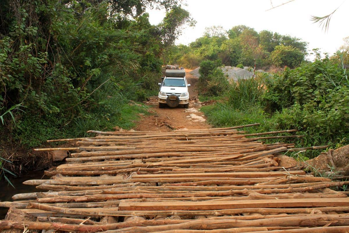 The makeshift wooden bridge.