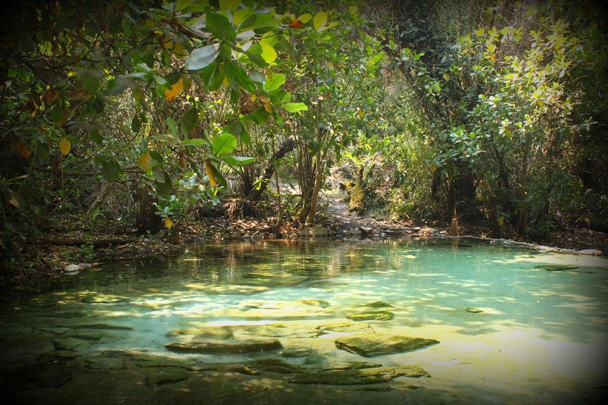 The water of the Kapishya Hot Spring is crystal clear with a tinge of turquoise.