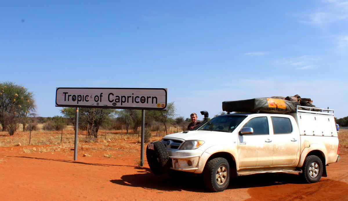 Passing by the Tropic of Capricorn which is south of Rehoboth.