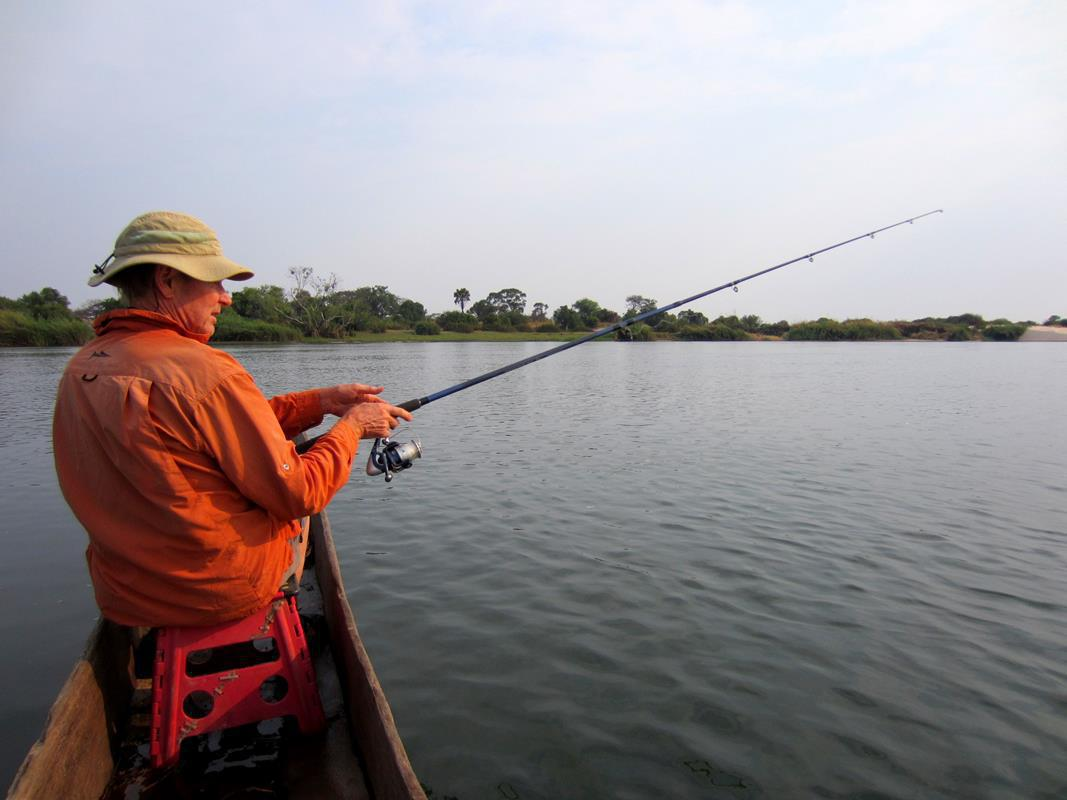 Fishing on the Zambezi in a mokoro.