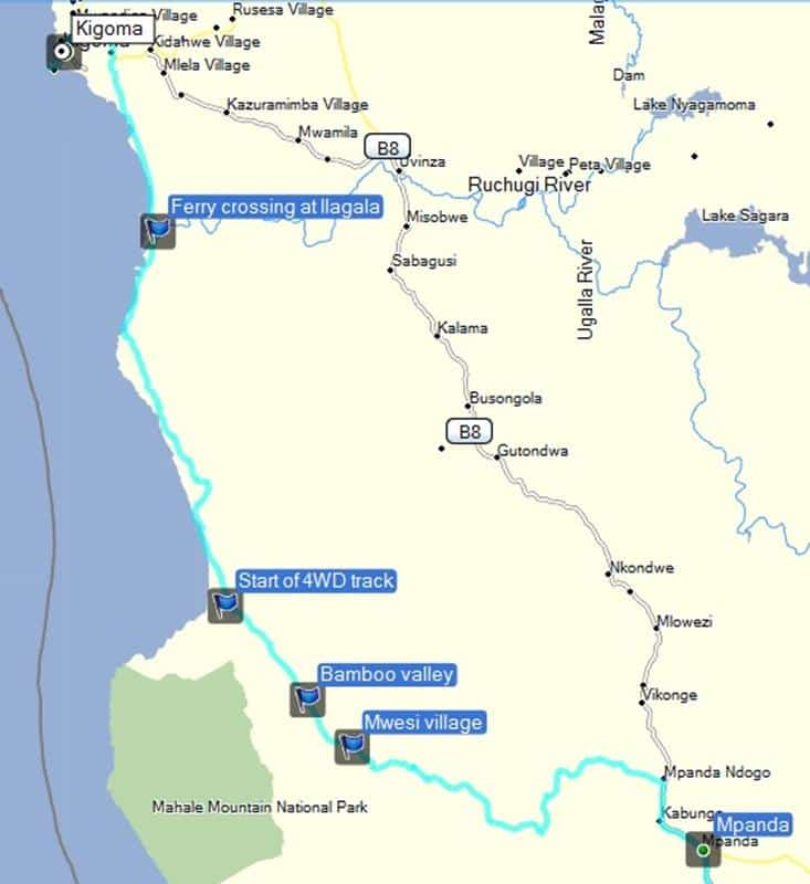 Our route from Kigoma to Mpanda.