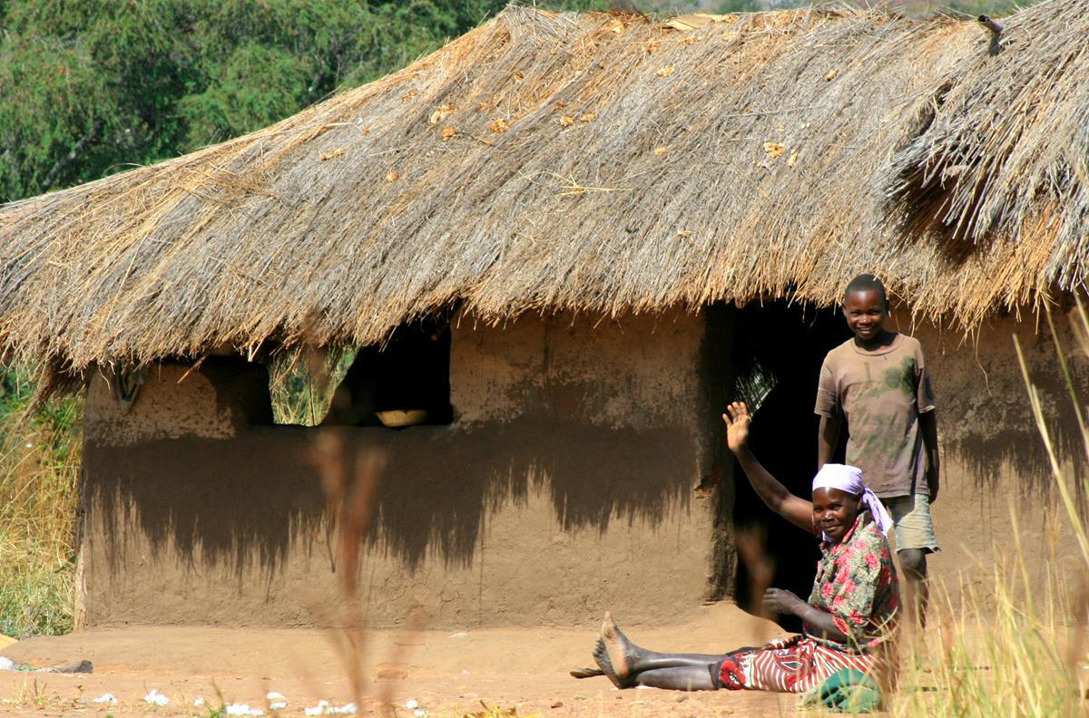 Most of Africa's people are content, even though they live in simple houses.