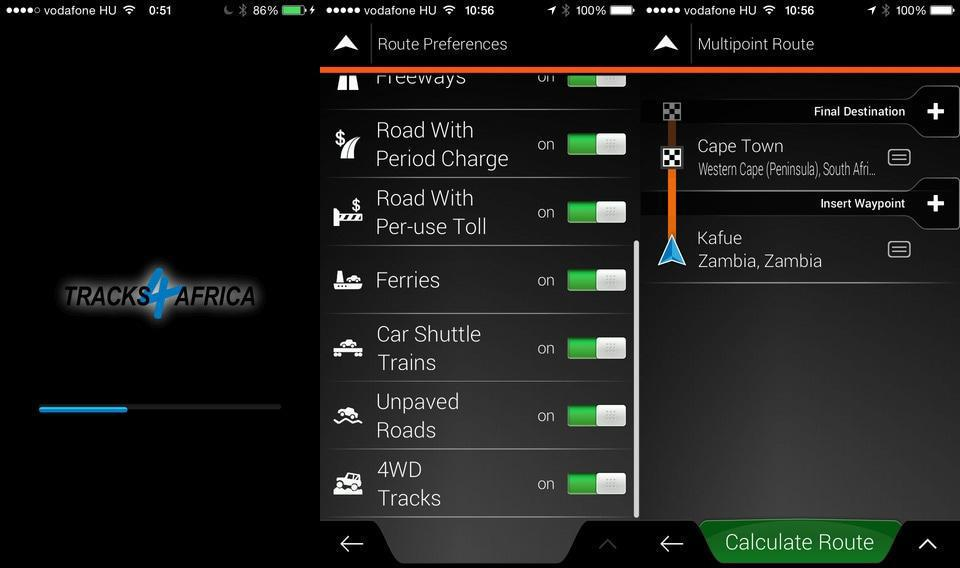 You can set your route preferences and create a multipoint route on your app.