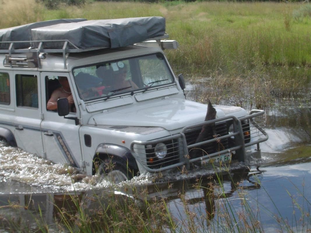 The water should not be deeper than your front wheel arches.