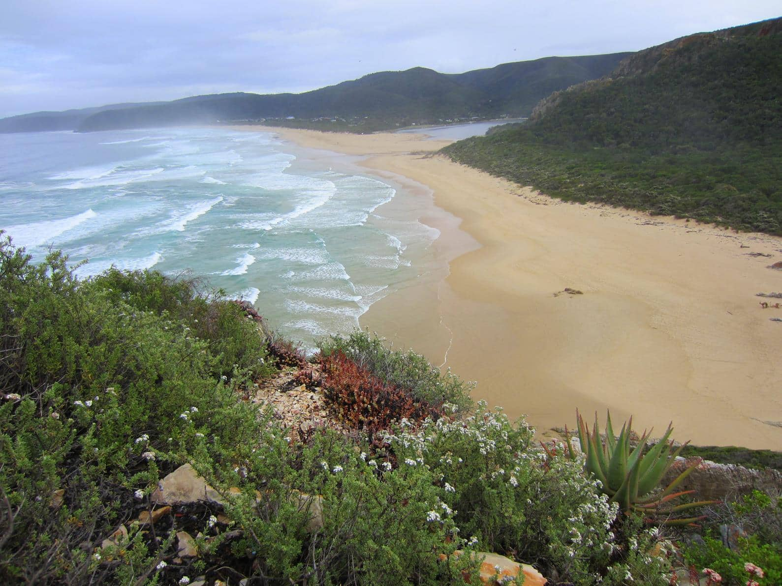 The trail ends with a relaxing walk on the stretched out beach of Nature's Valley.
