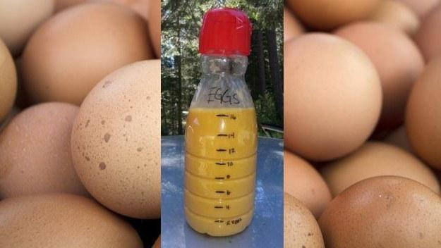 'Decanted' eggs take up very little space.