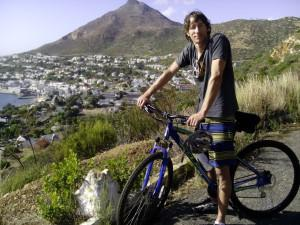 Jason in Cape Town, before he started his cycling adventure.