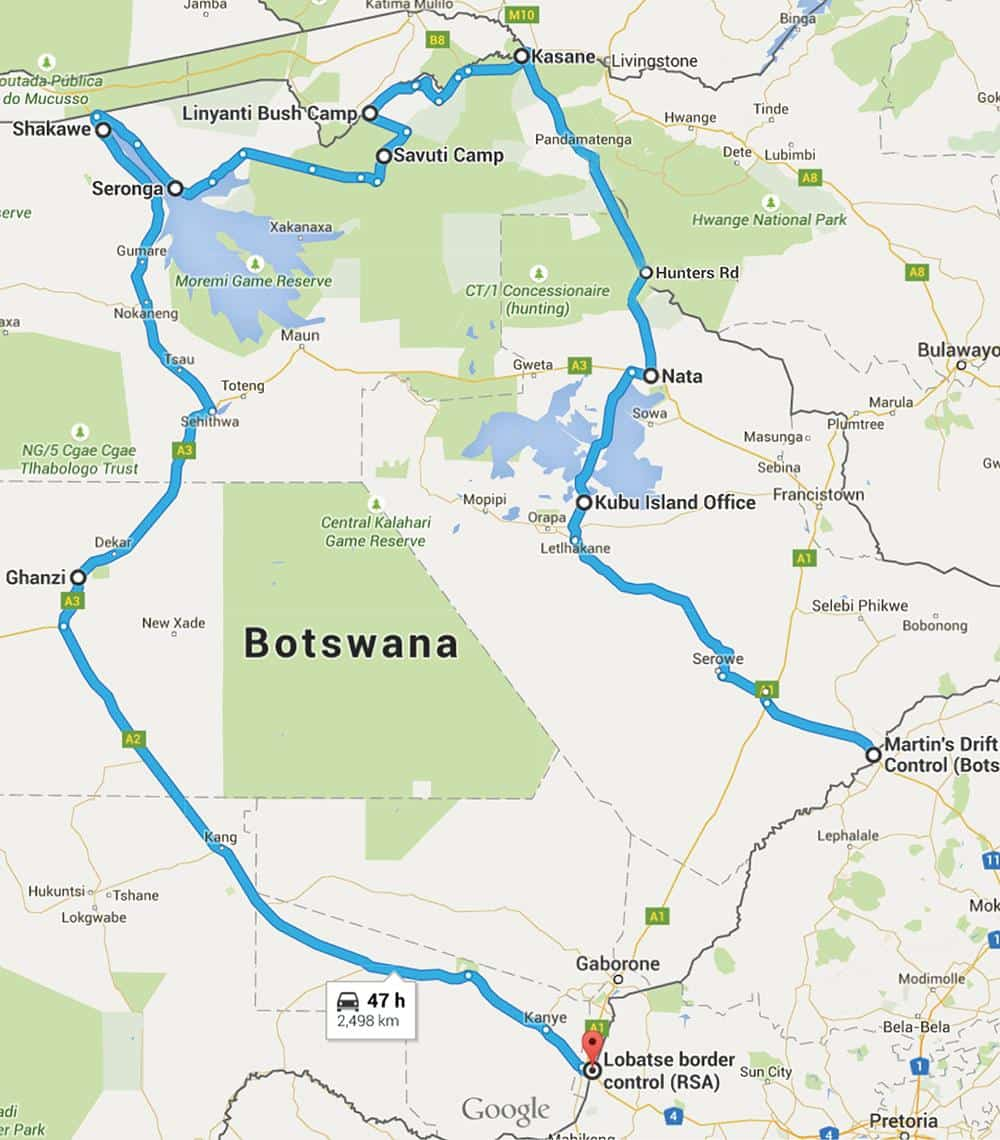 Their route through Botswana.