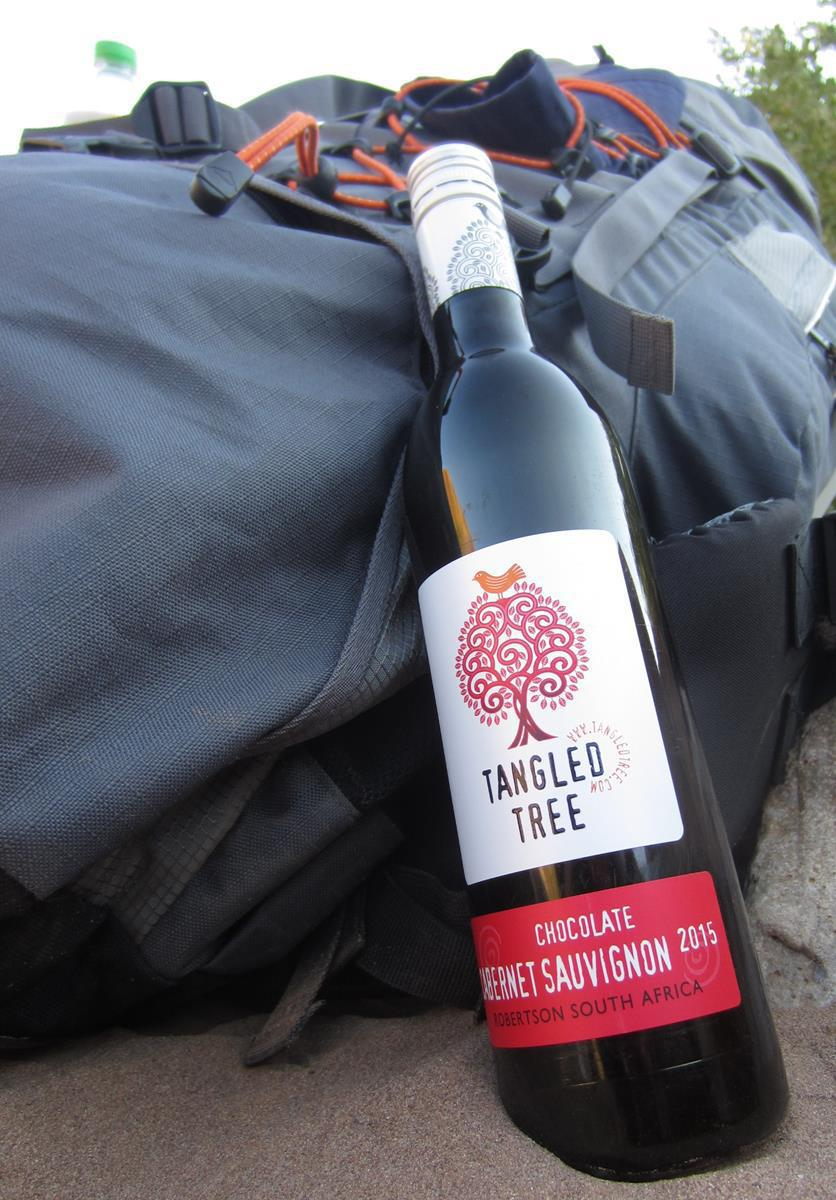 Tangled Tree Cabernet Sauvignon. The light-weight and unbreakable packaging makes it the ideal wine to take on a hike.