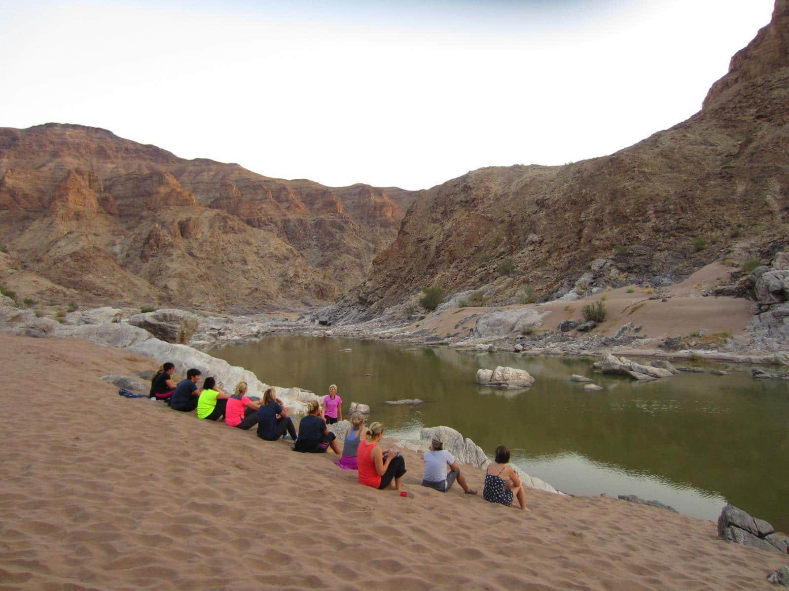 The girls drinking in the peace and quiet of the canyon…