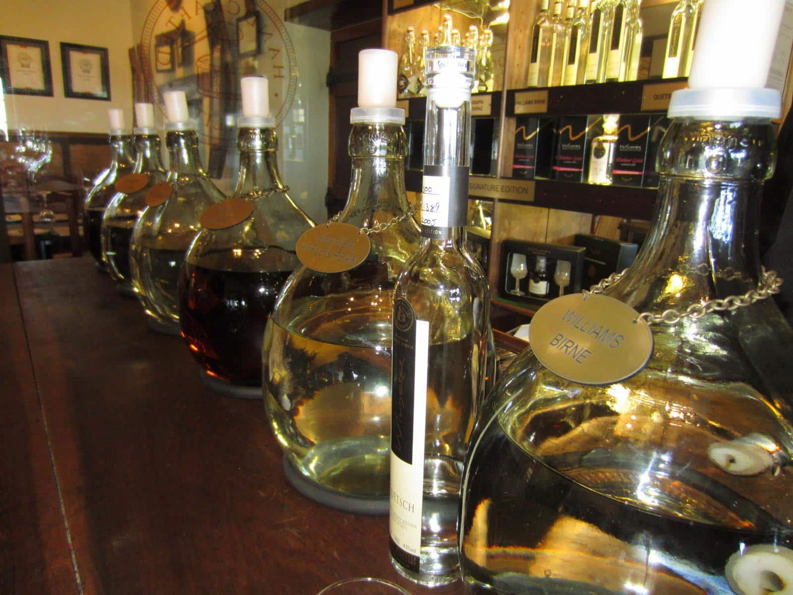 Fine grappa and eau de vie on taste.