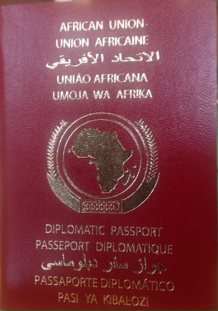The African Union passport that was presented to dignitaries at the AU Assembly.