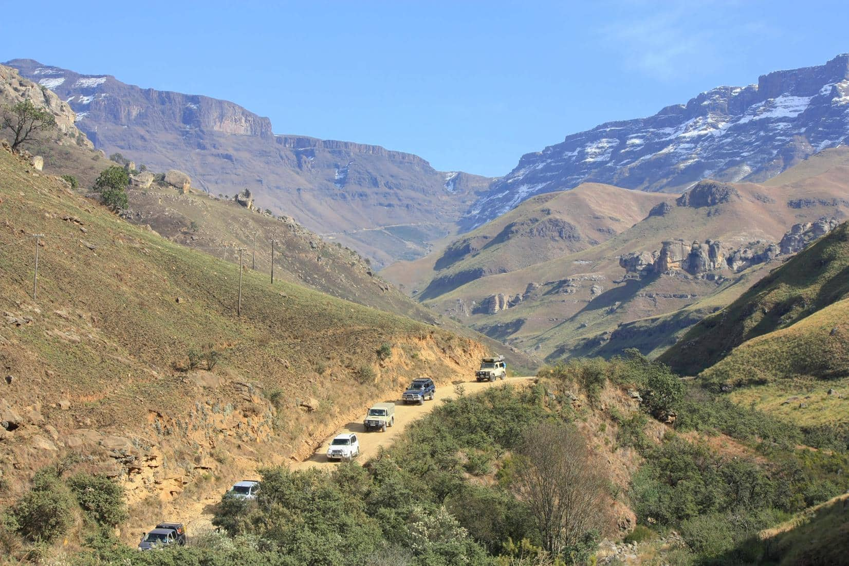 Vehicles coming down Sani Pass.