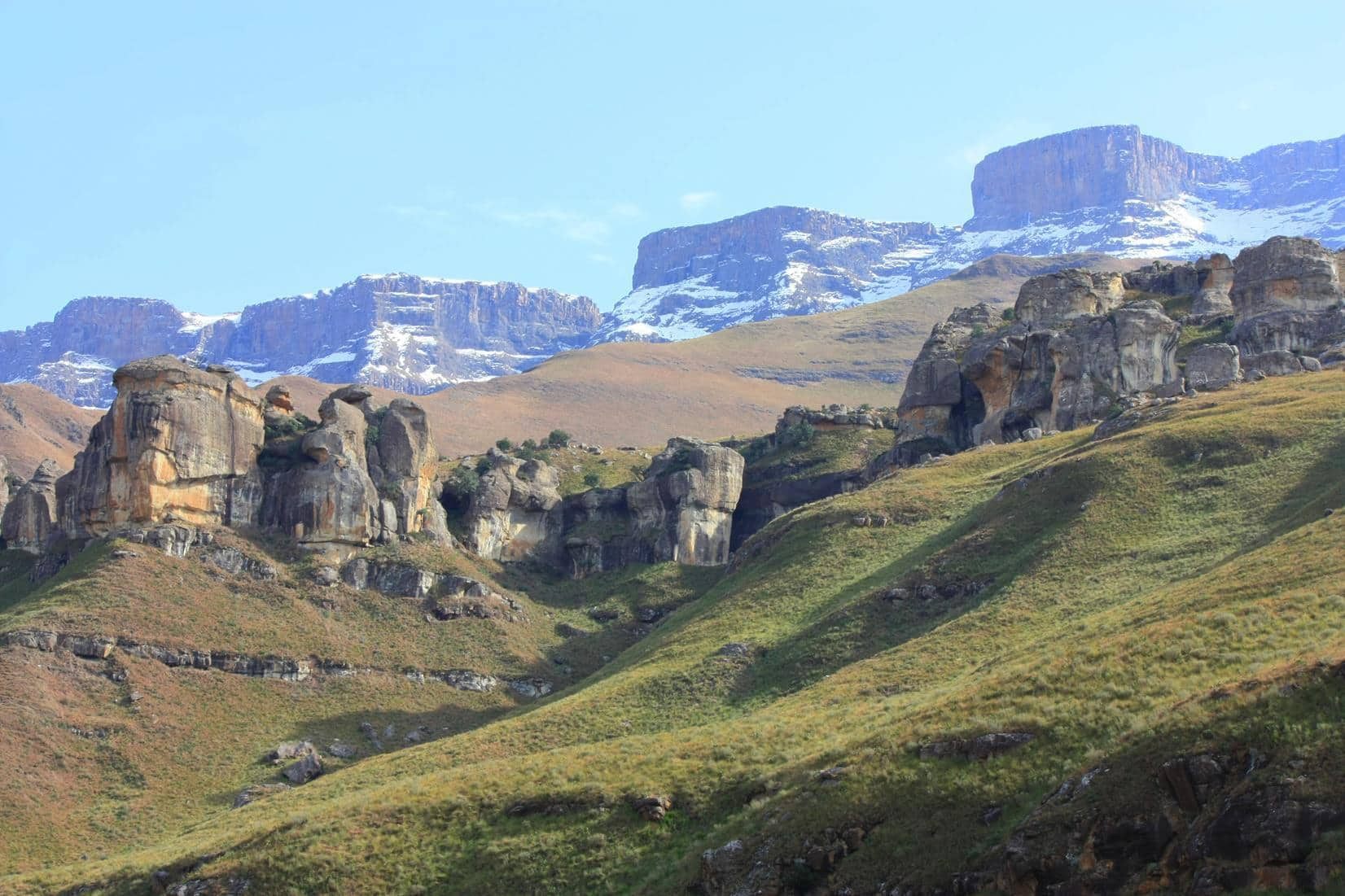 The tops of the Drakensberg mountains were capped with snow.