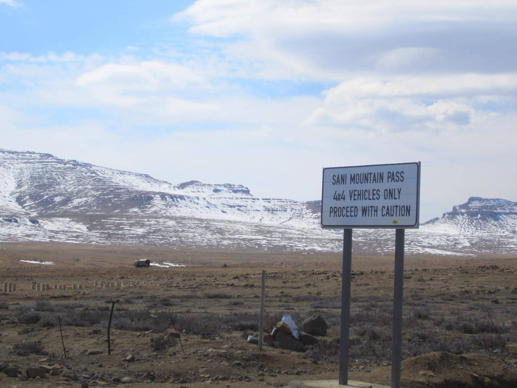 Notice at the top of Sani Pass.