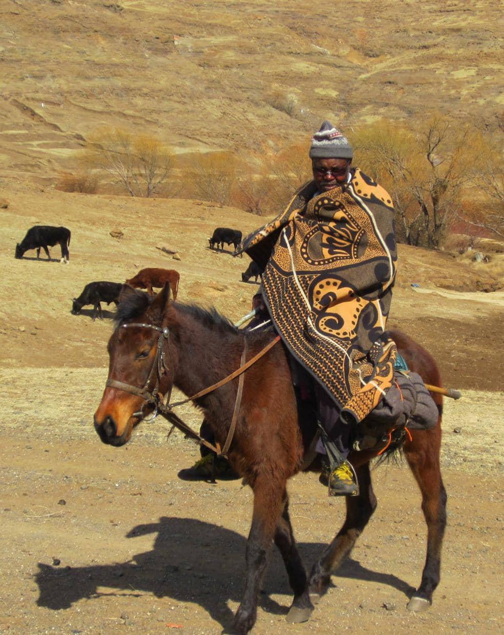 Basotho man on horseback.