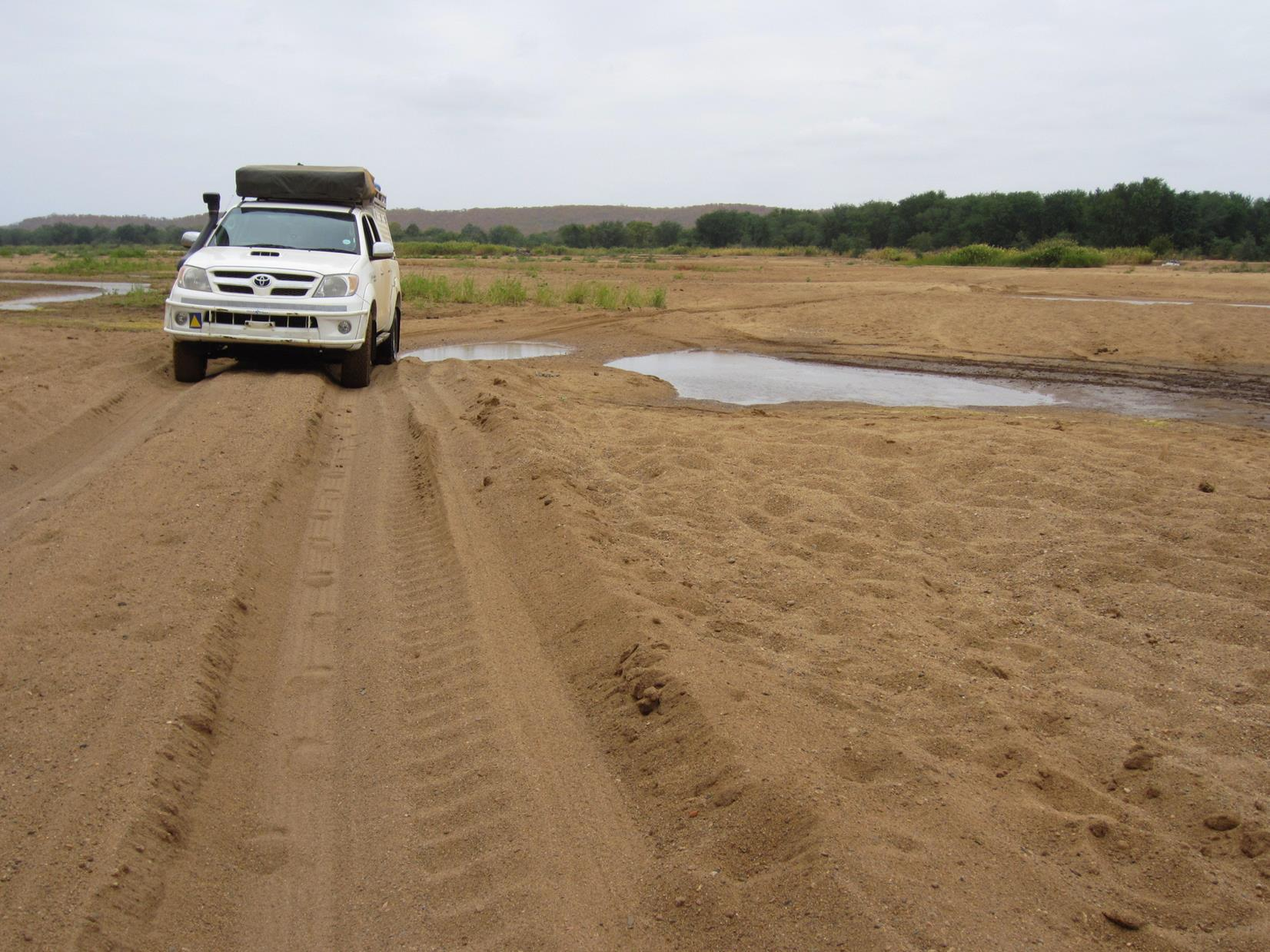 Crossing the dry Limpopo Riverbed.