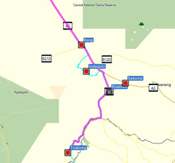 Our intended route from Kang to Tsabong is marked in magenta and our detour is shown in blue.