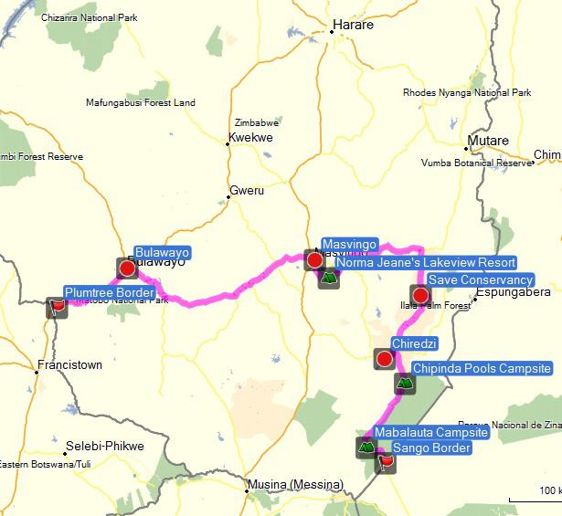 Our route through Zimbabwe.