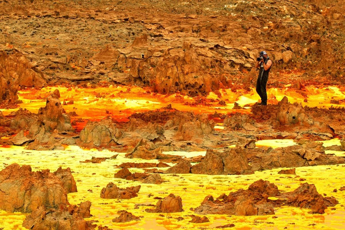 The colourful sulphur springs of the Dallol.